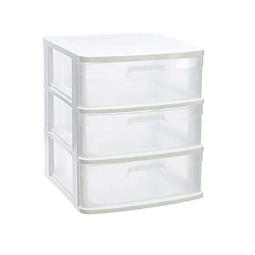 Acan Plastic Forte - Cajonera Sena 3 cajones, plástico Blanco, 40 x 39 x 49,5 cm, Torre de almacenaje, cajones Transparentes, Organizador Auxiliar Multiusos, Almacenamiento, Dormitorio, baño, Oficina