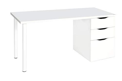 Habitdesign 004604BO - Mesa ordenador escritorio reversible, color Blanco Brillo, medidas: 138x74x60 cm de fondo
