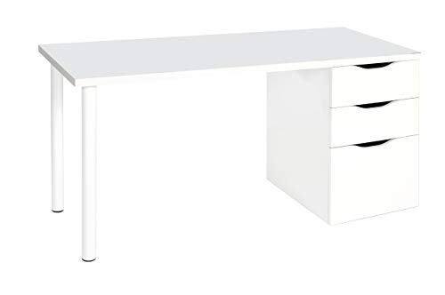 Habitdesign Vittoria A6 Scrivania, Melammina, Bianco, 138 x 60 x 74H cm