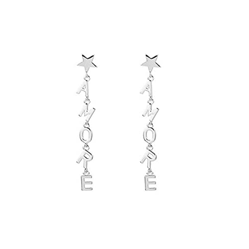 2 Pieces Letter New Earrings for Woman Gold Silver Color Long Tassel Star Earrings Trendy Jewelry Accessories Gift For Girls