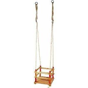 Wooden Safety-Seat Garden Swing for Small Children