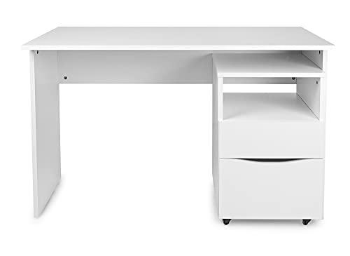 Leomark Białe meble drewniane do pokoju dziecięcego, nowoczesne biurko, szafa, dla dzieci i młodzieży, stolik pod komputer (proste biurko + szafka na kółkach)