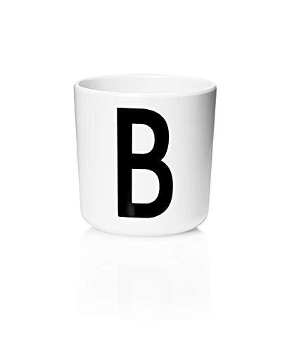 Design Letters Persönlicher Melamin Becher für Baby und Kinder (Weiß) - B - BPA-frei, BPS-frei, Multifunktionsbecher, erhältlich von A-Z, spülmaschinenfest, Zubehör ist separat erhältlich, 175 ml