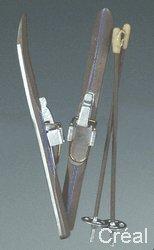 Unbekannt Creal 719982 avec des Bâtons de Ski 1 Paire en Bois 1:12 pour Maison de Poupée
