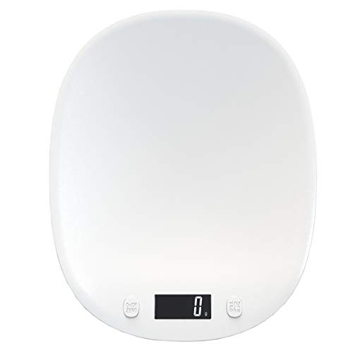FREELX Báscula de Cocina Electrónica Multifuncional con Pantalla LCD Retroiluminada, Báscula Digital de 10 kg / 1 g, Función de Pelado, Báscula Digital de Precisión