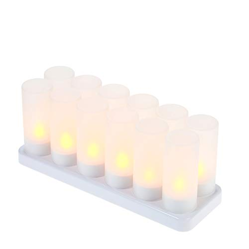 Decdeal Led Candles Rechargeable Flameless Candle Battery Flickering Candles with Frosted Cups Charging Base Yellow Light AC100-240V (12pcs)