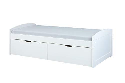 Inter Link Stauraumbett Kiefer Massivholz weiß mit 2 große Schubladen 90x200 cm Schlafzimmer Gästebett Kinderbett Jugendbett