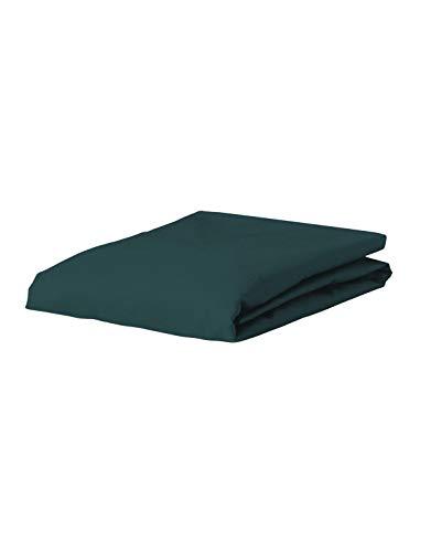 ESSENZA Spannbettlaken Premium Jersey Uni Baumwolle Blau, 180/200 X 200/220 cm