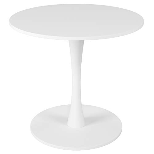Homfa Round Dinning Table Bistro Bar Table Wooden Kitchen Table Coffee Table with Tulip-Shaped Base White 78x71cm