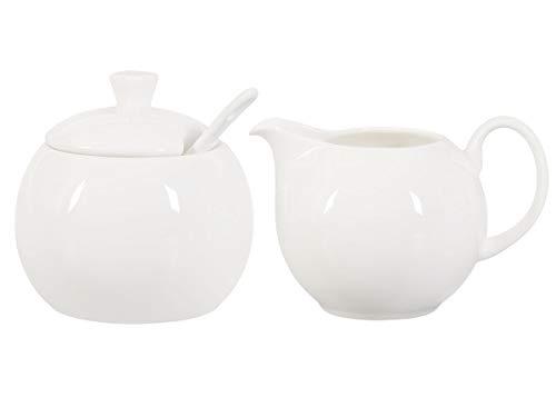Milchkännchen und Zuckerdose Set aus Fine Bone China Porzellan, weiß