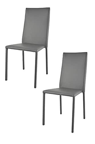 Tommychairs - Set 2 sedie impilabili modello Julia per cucina bar e sala da pranzo, robusta struttura in acciaio imbottita e rivestita in finta pelle colore grigio scuro