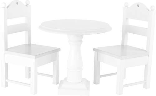 """small foot 10744 Puppenmöbel \""""Weiß\"""" aus Holz, ein runder Tisch und zwei Puppenstühle, mit Verzierungen, ab 3 Jahren"""