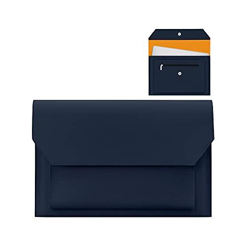 Costowns 革 ブリーフケースA4 大きめセカン ドバッグ メンズ レディース バッグ 手持ち バッグ A4サイズ 13.3インチ ipad 収納可 ビジネス 封筒袋 資料ケースct-20 (青)
