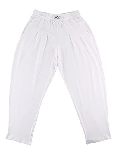 Pantalones Holgados para los Hombres Gimnasio de musculación de algodón y Spandex Blanco L
