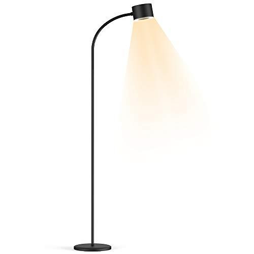 Stehlampe LED Dimmbar,HENZIN 12W 800lm Leselampe Stehlampe fur Wohnzimme Schlafzimmer,Flexibler Schwanenhals, 3000K - 6000K |3 Farbtemperaturen,Touch-Bedienung,Augenschutz Stehleuchte -Schwarz
