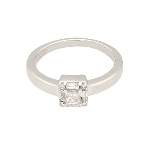 Anillo de oro blanco de 9 quilates para mujer de 0,25 quilates con diamante de corte princesa y baguette (tamaño J 1/2)   Anillo de lujo para mujer