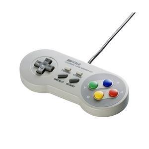 BUFFALO USBゲームパッド 8ボタン スーパーファミコン風 グレー