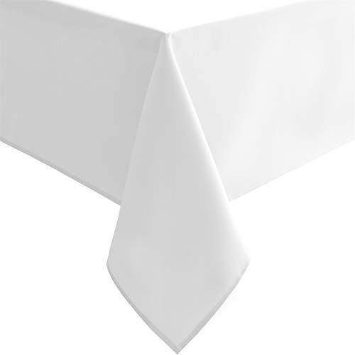 Hiasan White Rectangle Tablecloth - Waterproof Washable Polyester Fabric Table Cloth for Buffect Dining Birthday Party Wedding, 54 x 80 Inch