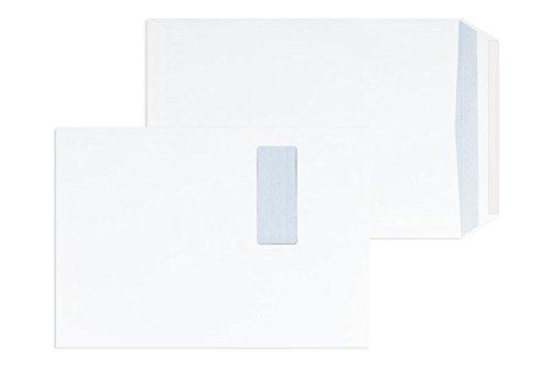 250 Stück, Versandtaschen, 250 x 353 mm (DIN B4), Haftklebung mit Abziehstreifen, Gerade Klappe, 120 g/qm Offset, Mit Fenster, Weiß (Hochweiß), Blanke Briefhüllen