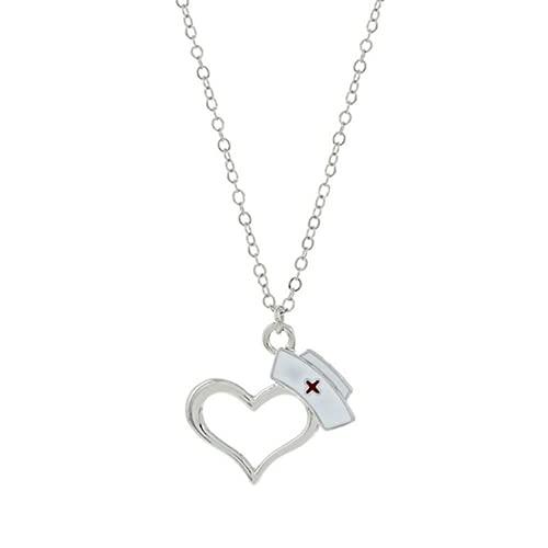 XIGAWAY 1 juego de collar y collar con colgante de corazón con símbolo de enfermera y corazón