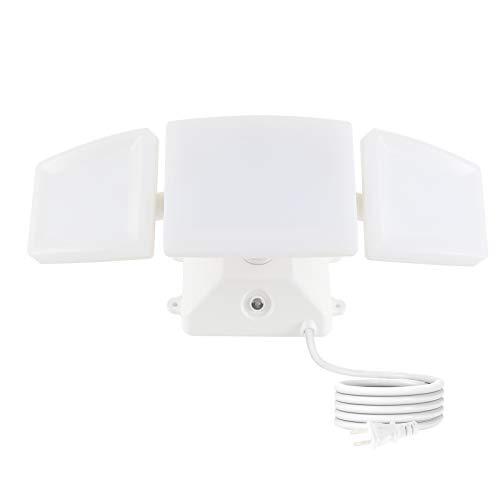 Yoxdalmk 35W LED Dusk to Dawn Security Lights-3 Adjustable Heads Plug in Flood Lights IP65 Waterproof,5000K Daylight 3200LM Outdoor Photo Sensor Floodlights for Garage,Yard,Garden,Entryways (White)
