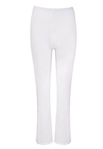 iEFiEL Damen Hose Lange Transparente Leggings Durchsichtige Netz Hose Strumpfhose Pants Reizwäsche Weiß(offen Schritt) M
