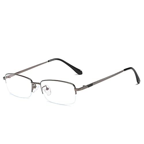 Fudeer Gafas De Lectura para Hombre Gafas De Sol Fotocromáticas Multifocales Progresivas Inteligentes Medio Marco Gafas Ligeras para Lectura Transición Al Aire Libre,+1.00