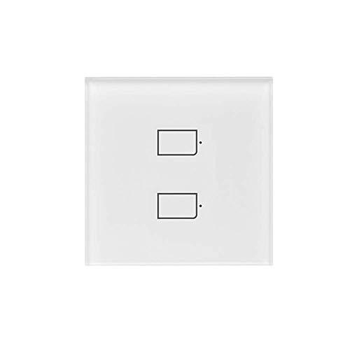Lasamot BestCon TC2S-EU Interruptor de luz de Pared Inteligente de 2 Bandas App Control Remoto Panel de Vidrio Control táctil Interruptores inalámbricos a través de Rm4 Pro Compatible con Alexa