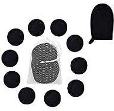 Reusable Makeup Removing Pads and Microfiber Face Cleansing Gloves -|Reusable Cotton Rounds, Laundry bag & 1 Black Makeup ...