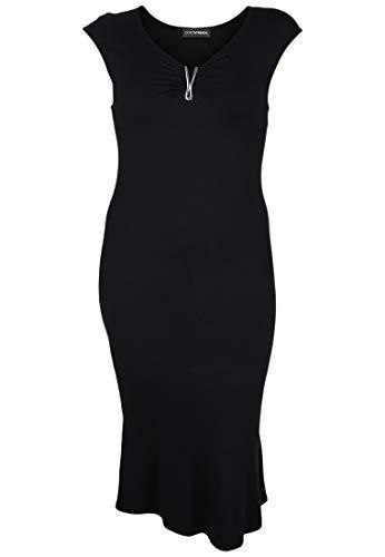 Doris Streich Damen Kleid mit verspieltem Ausschnitt Applikationen