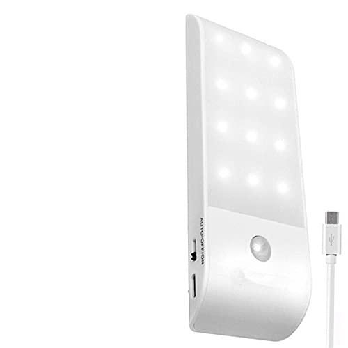 YSJJXTB Luz Nocturna Luz Nocturna LED USB Stick-On Lámpara de Sensor de Movimiento Recargable para Armario de Armario Dormitorio Corredor (Emitting Color : Warm White)