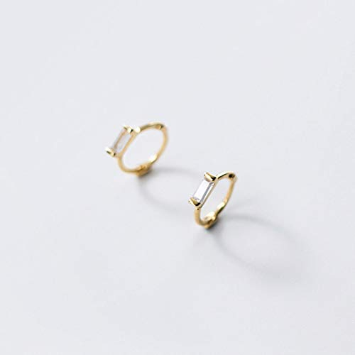 Hebilla de Oreja de circonita Cuadrada geométrica Blanca Verde Simple para Mujer Pendientes de aro de Plata de Ley 925 auténtica para Hombre, Jewelr