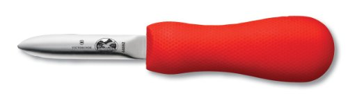 Victorinox 7.6399.2-X1 Oyster Knife 2-3/4-Inch Providence Style Blade, Red SuperGrip Handle