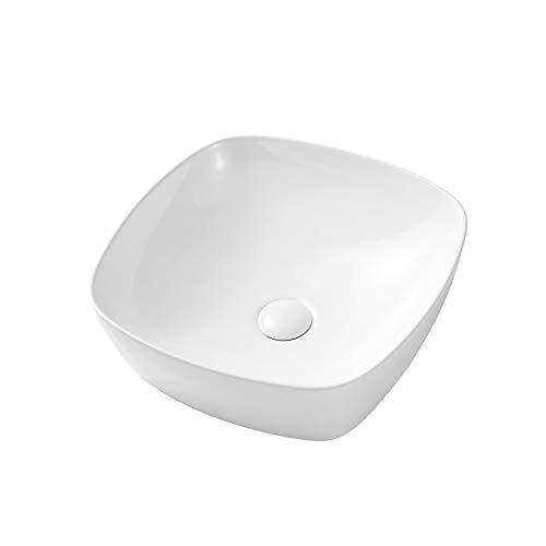 Eridanus Aufsatzwaschbecken mit Weißem Ablaufgarnitur aus Keramik, Waschbecken aus hochwertiger Sanitär-Keramik, Aufsatz-Waschschale Waschtisch eckig, 40 x 40 x 14 cm