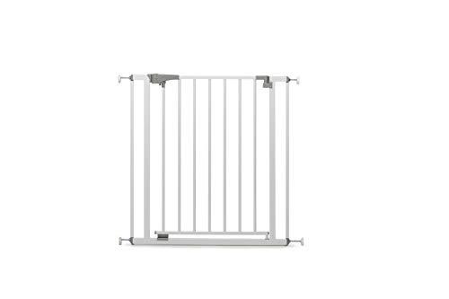 Geuther 4712 WE Türschutzgitter/Treppenschutzgitter zum Klemmen aus Metall, ohne Bohren, 73-81, 5 cm, Weiß, Schutz für Kinder/Baby vor Treppen und Tür Öffnungen