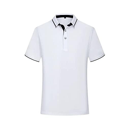 WanXingY Polo Shirts para Hombres 2021 Moda Moda de Manga Corta de Manga Corta Diseñador de Polo de Gran tamaño Ropa Black Blue Grey (Color : White, Tamaño : XXL)