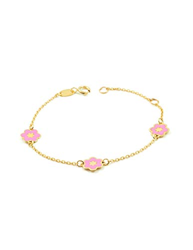 Pulsera Bebe Oro Amarillo flor rosa esmalte (9kts)