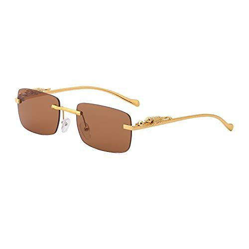MAOXING Pequeñas Gafas De Sol Cuadradas De La Moda Sin Marco De Los Hombres, Gafas De Sol Retro G44 del Espejo del Metal De Las Mujeres