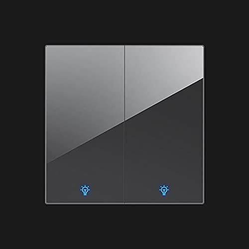 SYunxiang Interruptor de luz de Prensa de Palanca Gris Interruptor de Pared de Panel de Vidrio Templado de Cristal de Encendido/Apagado con indicador LED (1-4Gang 1-2 Way)