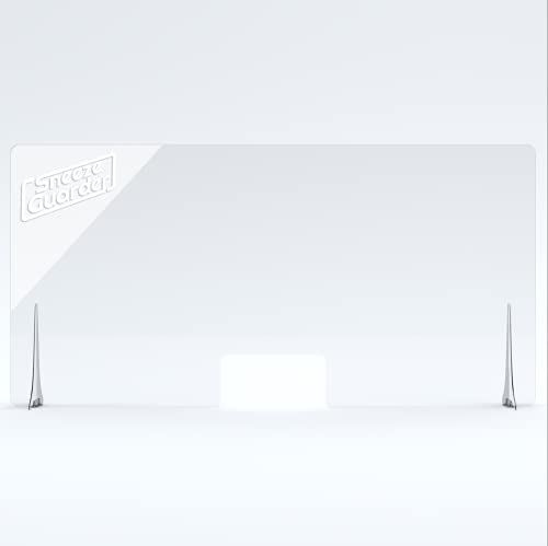 """XL 30'H x 60'L Plexiglass Sneeze Guard for Desk Counter with Double-Side Tape Base Stabilizers 