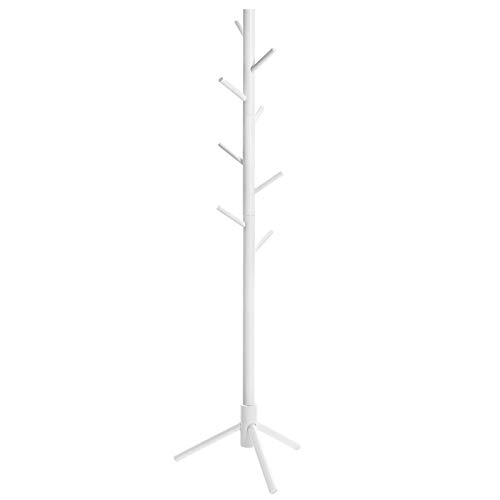 VASAGLE Coat Rack Free Standing with 8 Hooks, Solid Wood Coat Tree Entryway Organizer for Clothes, Hats, Handbags, Umbrella, White URCR04WT