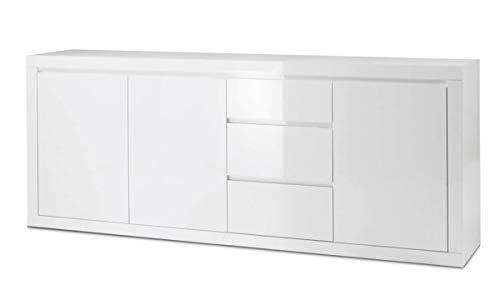 BIM Furniture Kommode Como Bianco IV Sideboard Highboard Weiss ganz in Hochglanz lakiert DREI Regal, DREI Schubladen Italienische