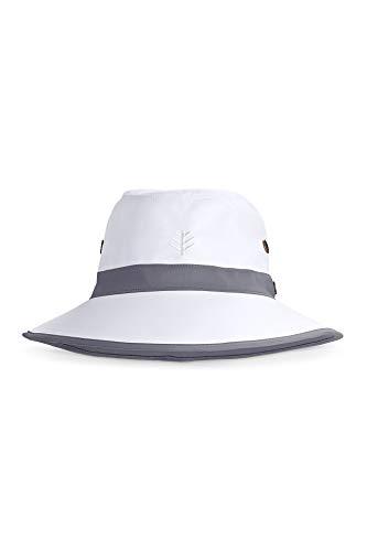 Coolibar UPF 50+ Men's Women's Matchplay Golf Hat - Sun Protective (XX-Large- White/Carbon)