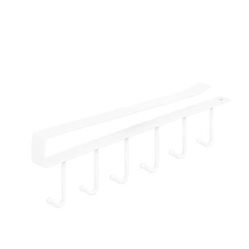 QINX Heiße Mode 6 Haken Metall Unter Regal Becher Tasse Schrank Küche Veranstalter Hängen Rack Halter 2Stück Weiß