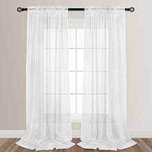 VOILYBIRD White Sheers Extra Long See Through Sheer Curtains for Living Room Bedroom Lightweight Rainy Style Rod Pocket at Top, 52-inch by 108-inch, 2 Panels