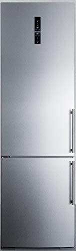 Summit Appliance FFBF181ESLHD 24' Wide Bottom Freezer Refrigerator, Left Hand Door, Digital Temperature Controls, 12.8 cu.ft Capacity, Stainless Steel Doors, Interior LED Lighting, Adjustable Shelves