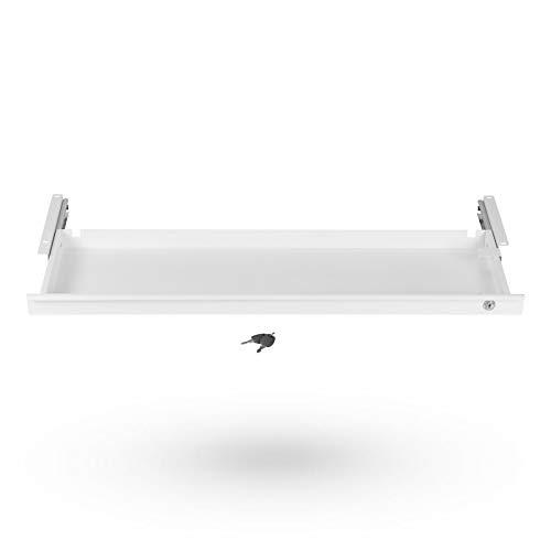 Tiroir sous Bureau Fermant à Clé 850 x 265 x 45 mm blanc Tiroir de Rangement pour Bureau de SO-TECH®