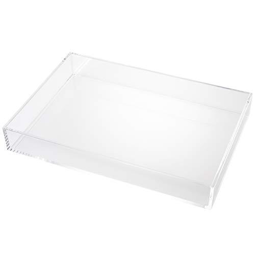 Acryl Tablett Kunststoff: Tablett Transparent zur Make Up Aufbewahrung von Kosmetik, Pinsel und Schmuck – Make Up Organizer Stapelbar – Makeup Organisator – Schmink Aufbewahrung 24cm von Fantasia