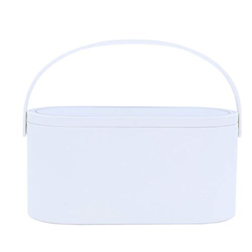 Knowooh LED Makeup Case with Touch Screen Portable Cosmetic Organizer for Travel Dresser Bedroom Bathroom(White)
