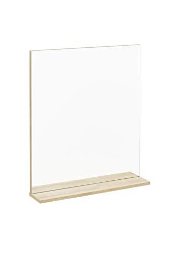 FACKELMANN Spiegelelement Finn/Badspiegel mit Ablage/Maße (B x H x T): ca. 60 x 69,5 x 13,5 cm/hochwertiger rechteckiger Spiegel fürs Badezimmer und WC/Ablage: Braun hell/Breite: 60 cm